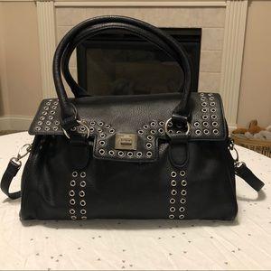 Kensie Black Silver Ring Stud Flap Closure Bag